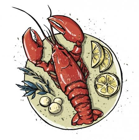Lobster on a dish. Seafood. Vector illustration. Стоковая Иллюстрация